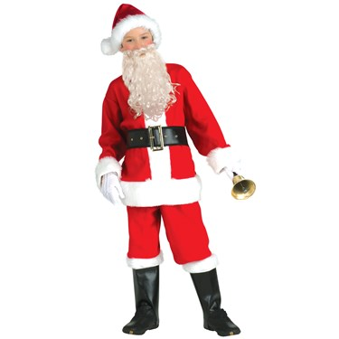 Childrens Flannel Santa Suit with Beard