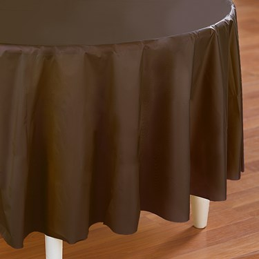 Chocolate Brown (Brown) Round Plastic Tablecover