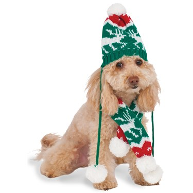 Christmas Knit Pom Pom Hat and Scarf Pet Costume