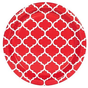 Classic Red Quatrefoil Dessert Plates (8)