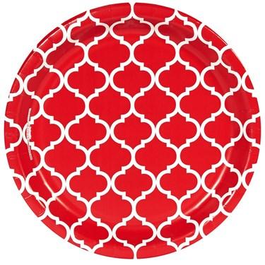 Classic Red Quatrefoil Dinner Plates (8)