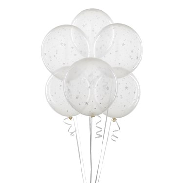 Clear Balloons with Stars (6 count)