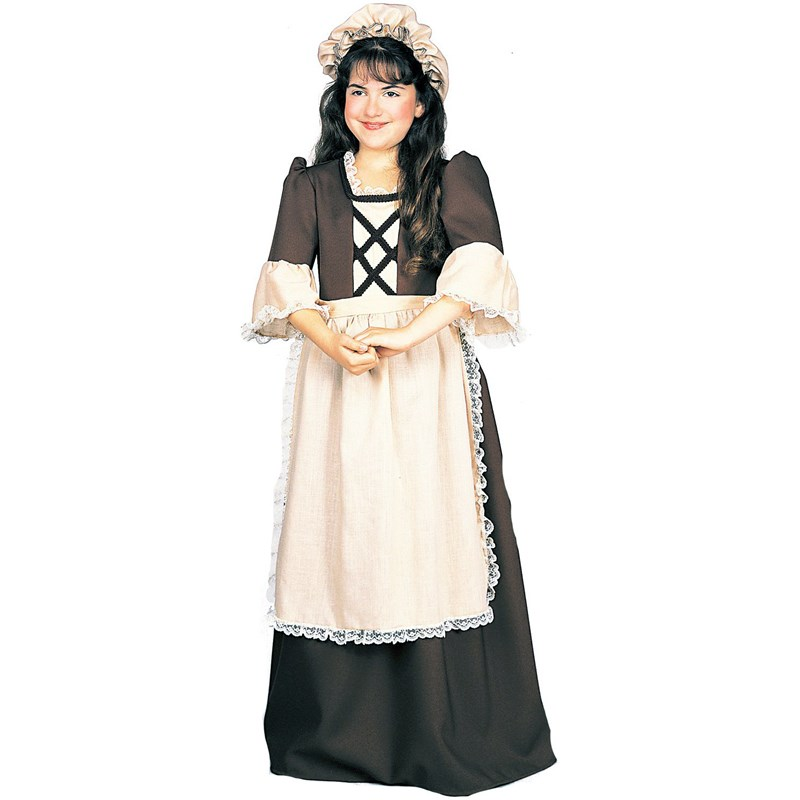 Kids Colonial Girl Child Costume- Brown: 4-6