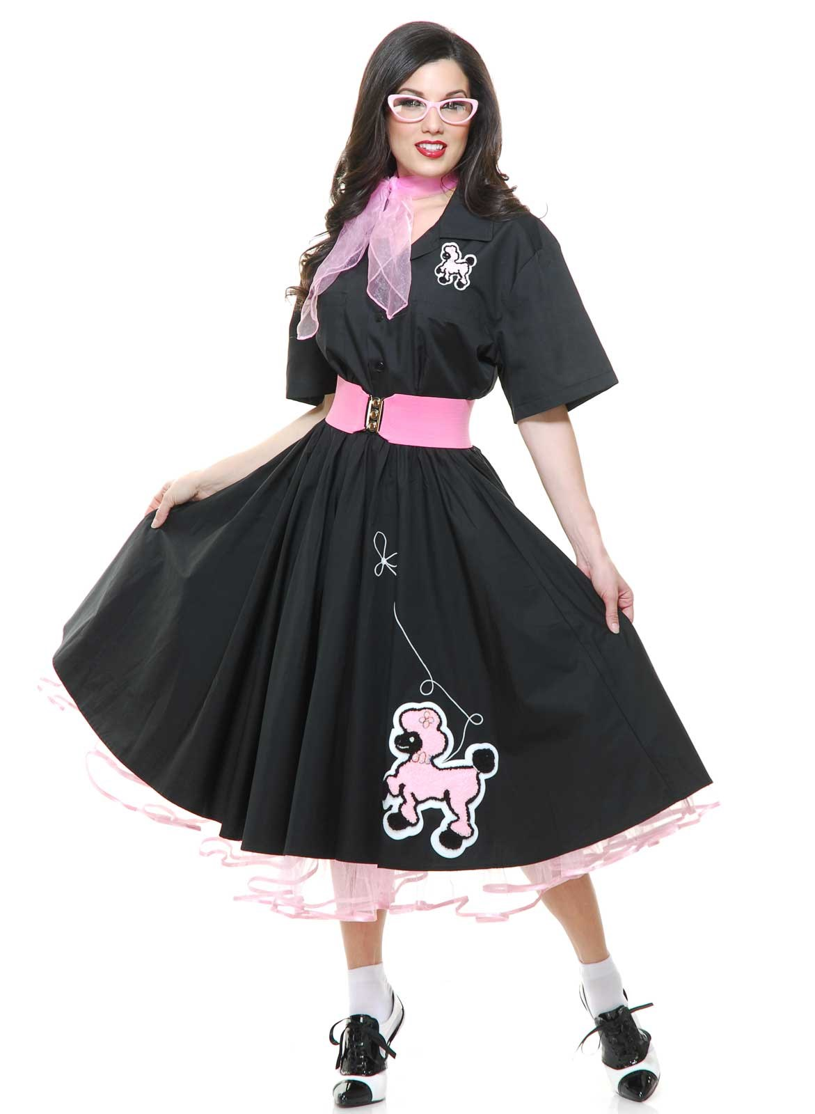 Complete 50's Poodle Skirt Adult Outfit Black ...