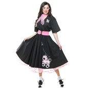 Complete 50's Poodle Skirt Adult Outfit Black