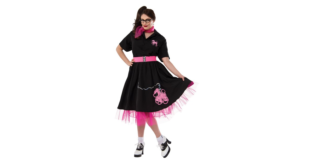 Complete Poodle Skirt Outfit Black Pink Adult Plus Costume