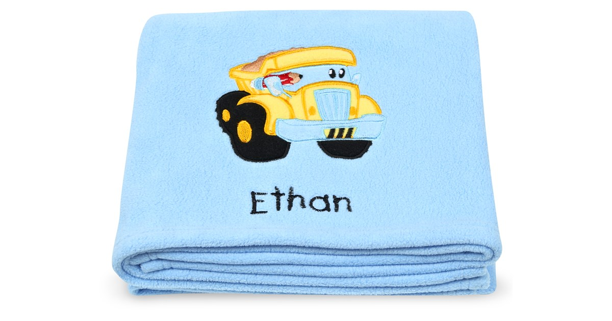 Construction applique fleece blanket embroidered