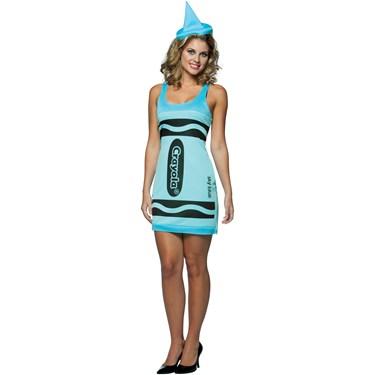 Crayola Sky Blue Crayon Tank Dress Adult Costume
