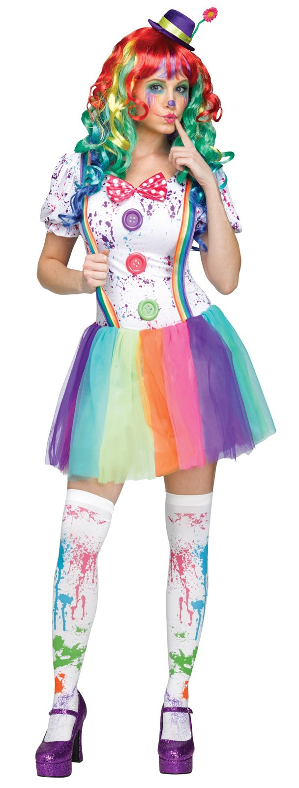 Crazy Color Clown Costume For Adults