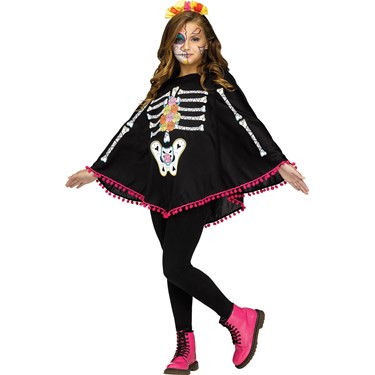 Day of the Dead Child Poncho Costume