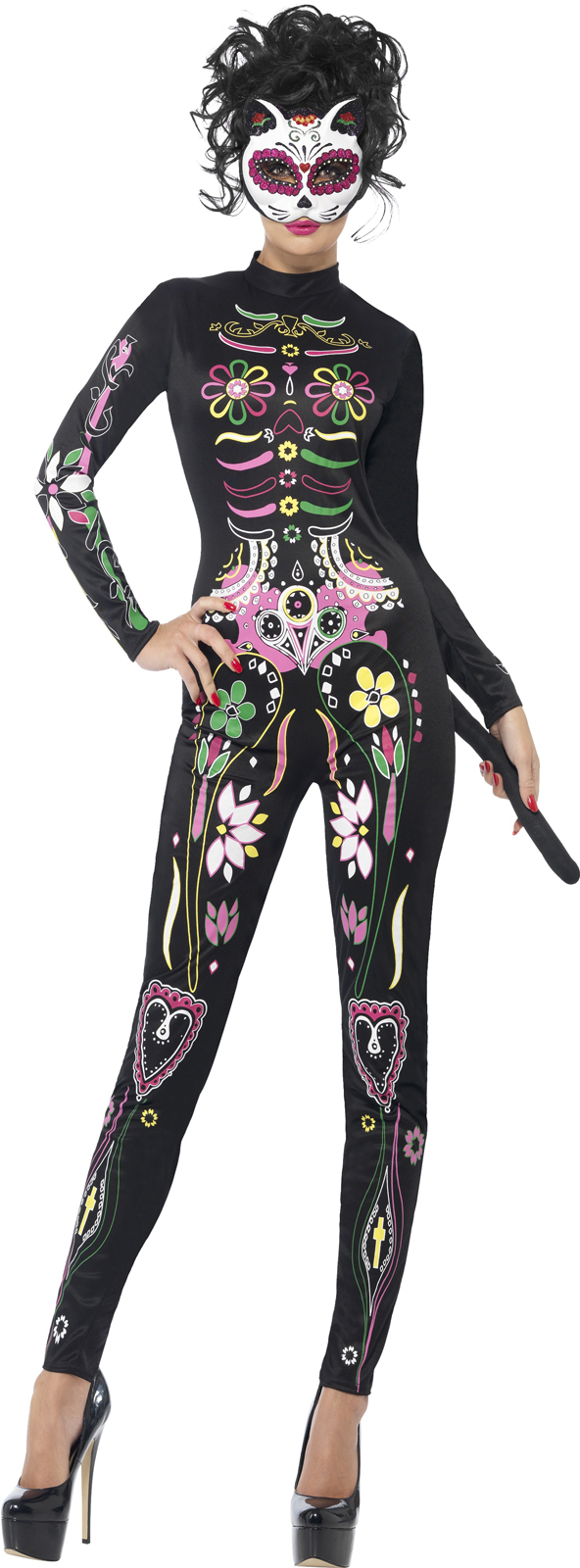 Day of the Dead: Sugar Skull Cat Costume For Women | BuyCostumes.com