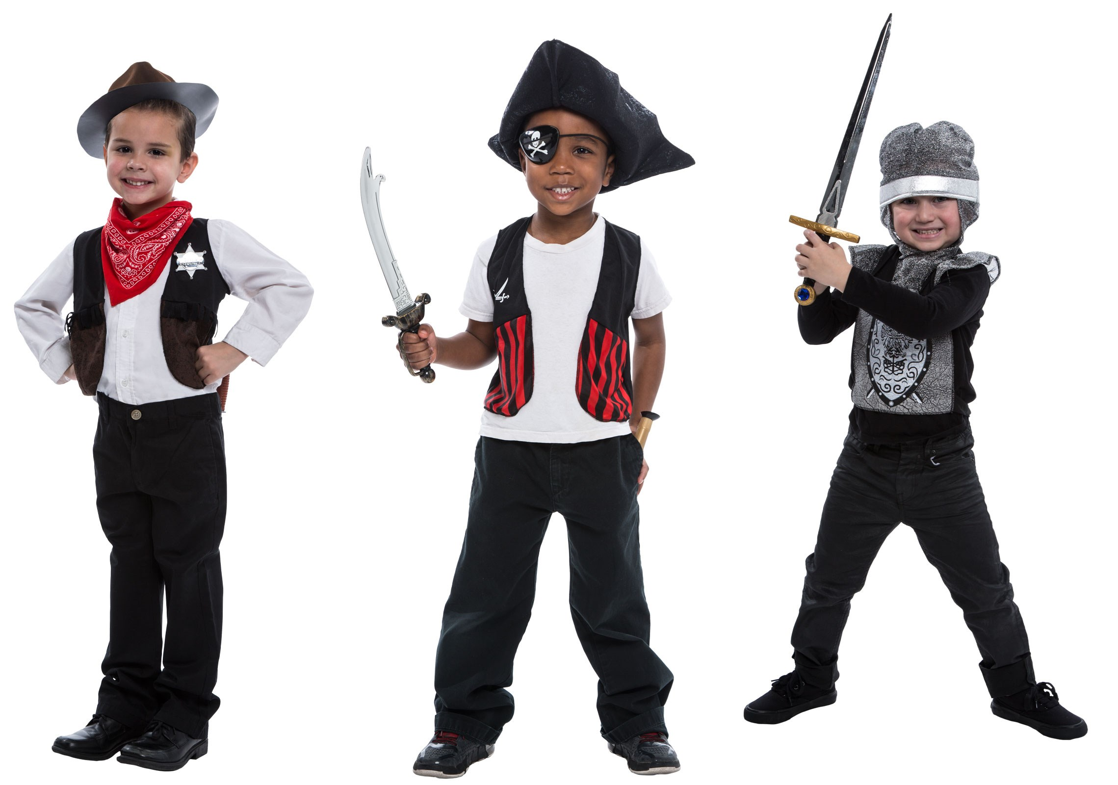 Deluxe 3-in-1 Costume Set: Pirate, Knight & Sheriff