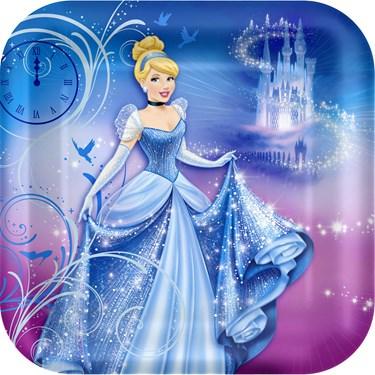 Disney Cinderella Sparkle Square Shaped Dinner Plates