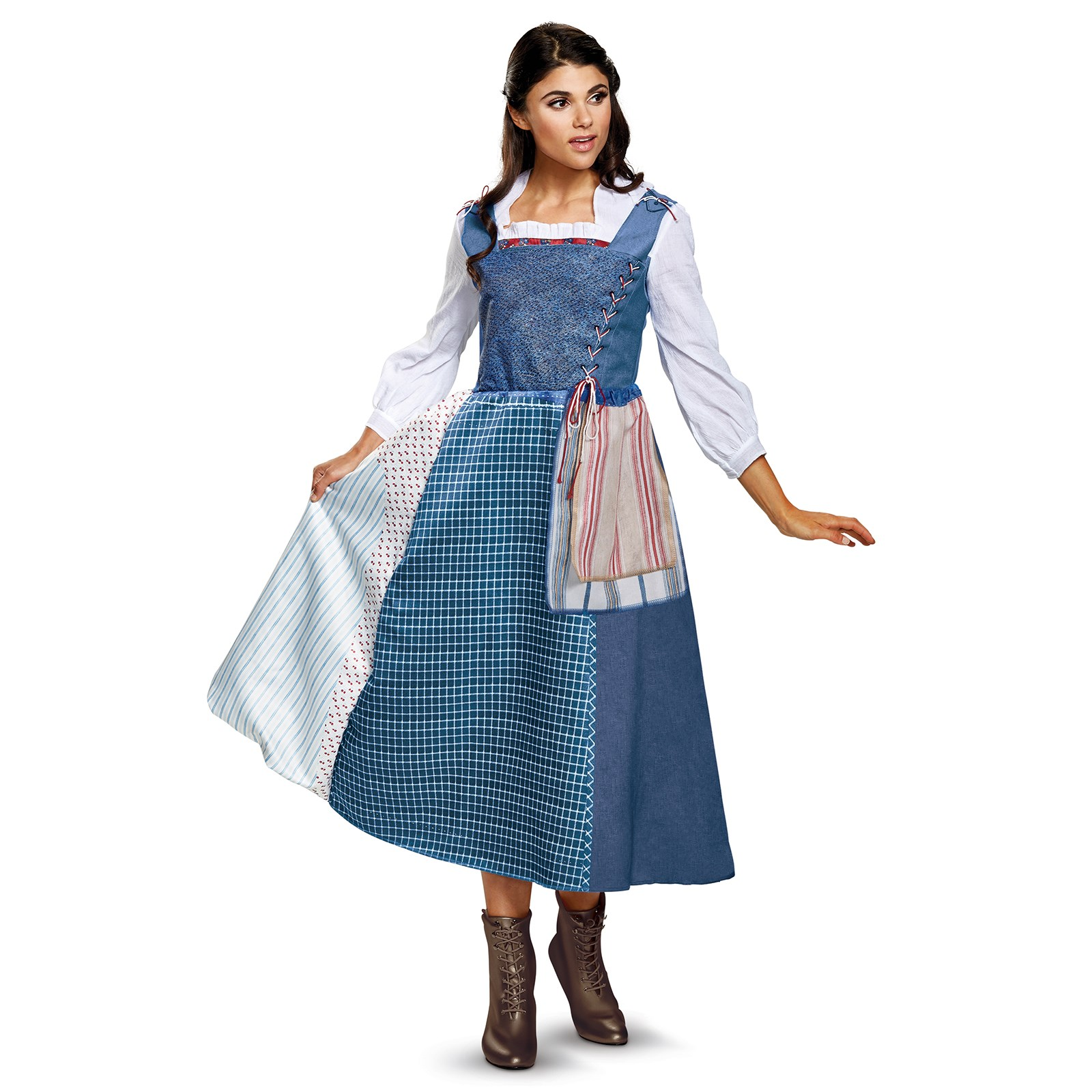 Disneys Beauty And The Beast Live Action Belle Village Dress Deluxe Adult Costume