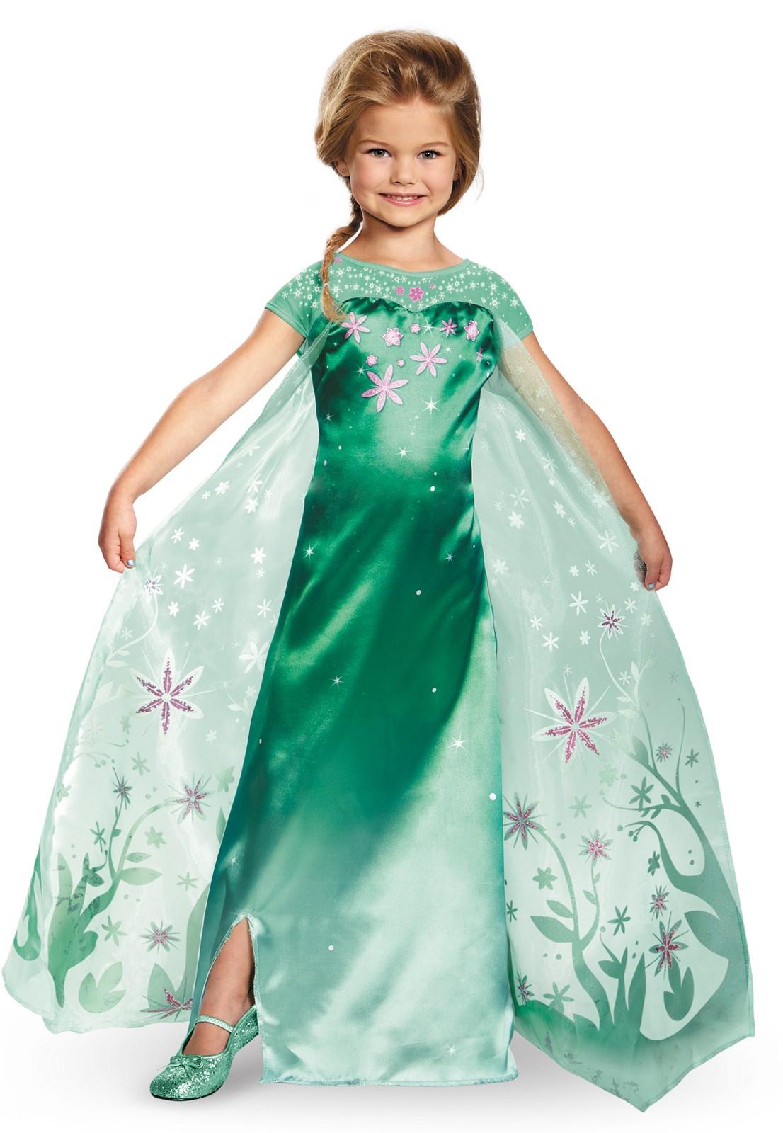 Elsa Frozen Fever Girls Deluxe Costume