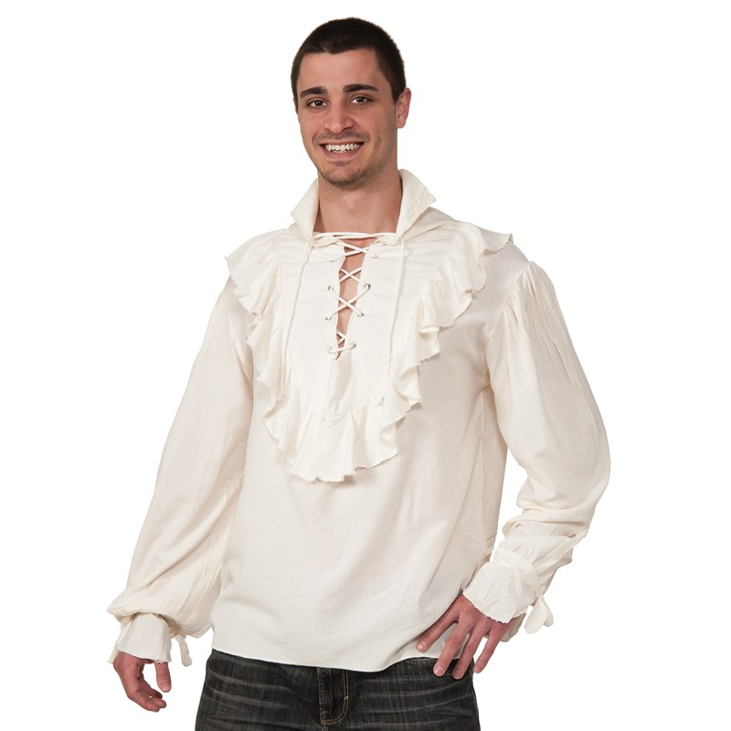 Adult Fancy White Pirate Shirt Adult- White: Standard One-Size