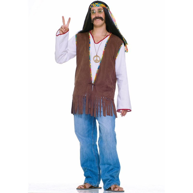 Adult Faux Suede Hippie Vest Costume- Brown: Standard (One-Size)