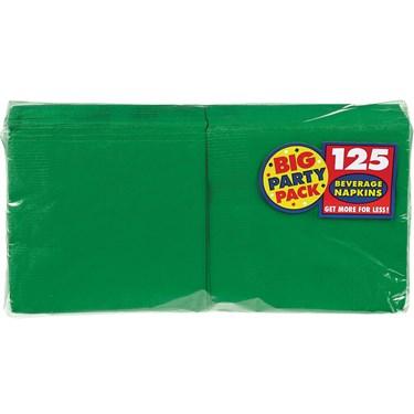 Festive Green Big Party Pack - Beverage Napkins (125 count)