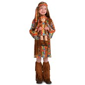 """Fringe 60's Hippie Child Costume M (8-10) with Matching 18"""" Doll Costume"""