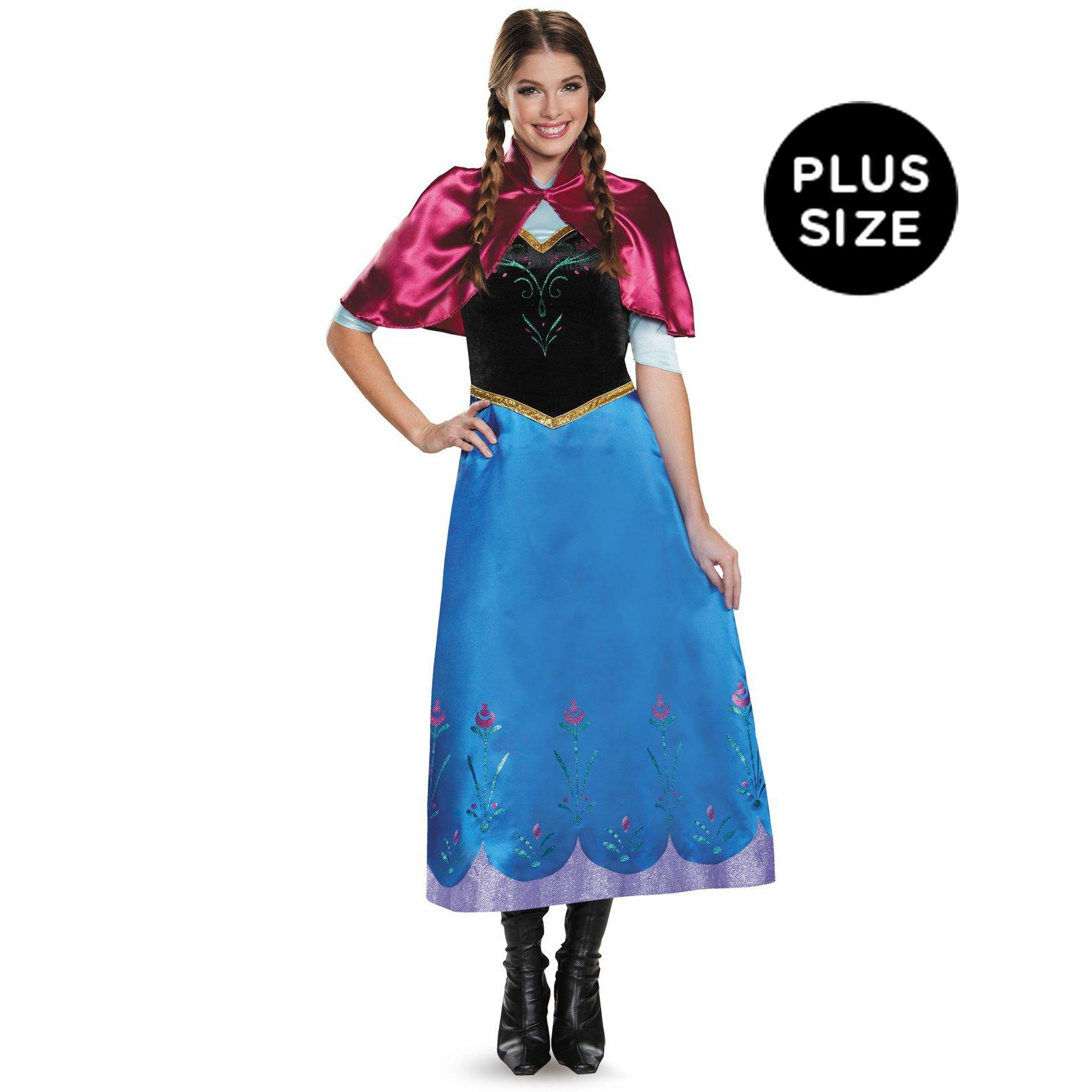Frozen: Womens Plus Size Deluxe Anna Traveling Gown Costume