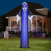 Giant Frightened Ghost Airblown with Short Circuit Blue Projection Lights
