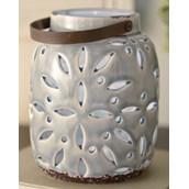 Gilded Gray Light-Up Lantern