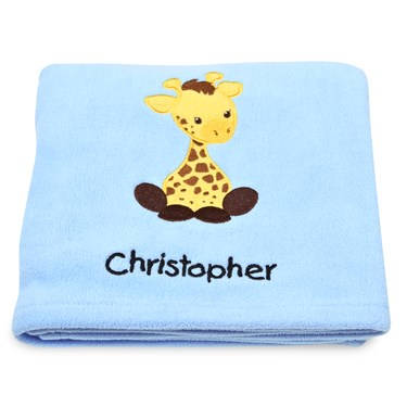 Giraffe Applique Fleece Blanket - Embroidered