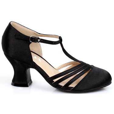 Girl's 1920s Black Flapper Shoes