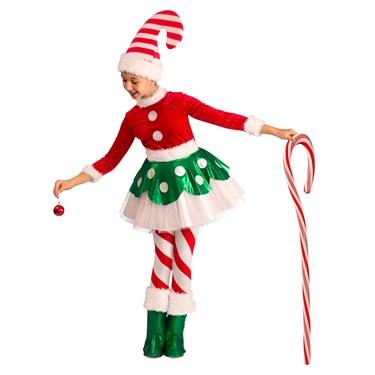 Girls Candy Cane Elf Princess Costume