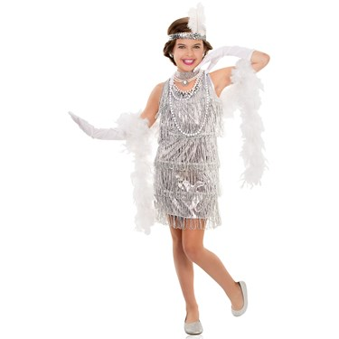 Girls Dazzling Silver Flapper Costume