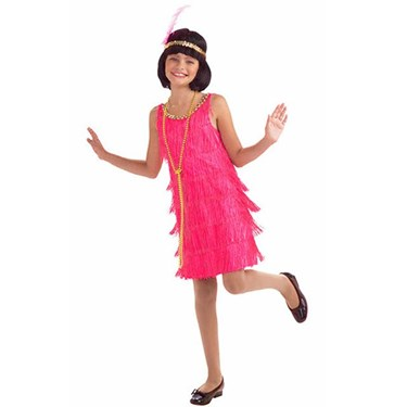 Girls Hot Pink Flapper Costume