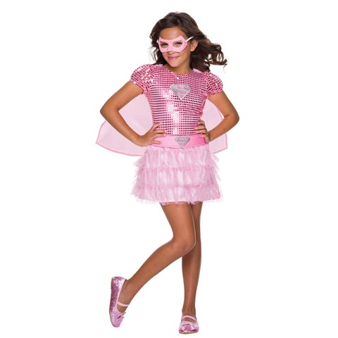 Girls Pink Sequin Supergirl Costume