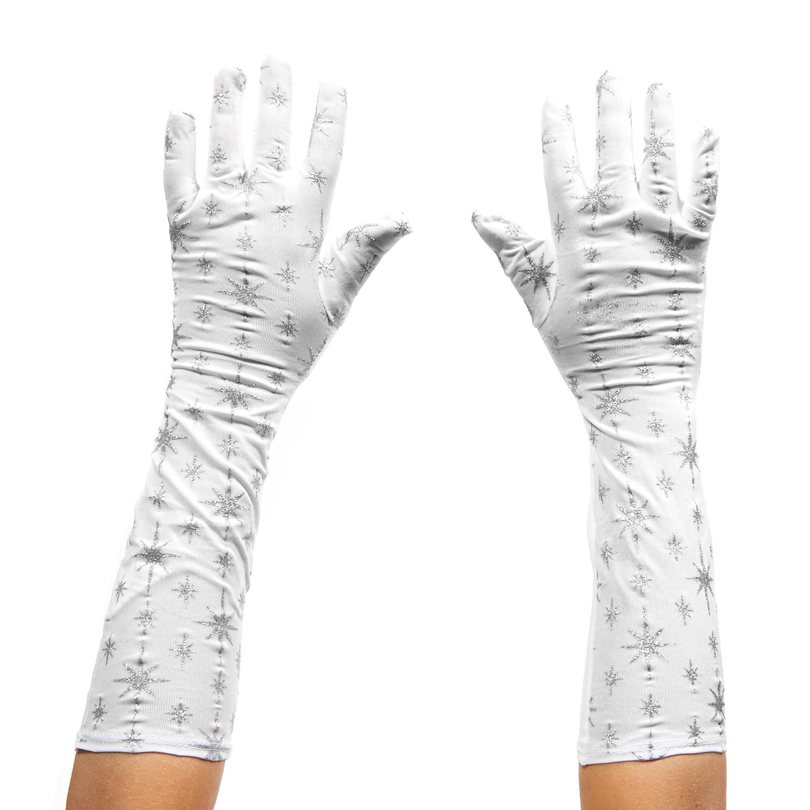 Girls White & Silver Glitter Gloves