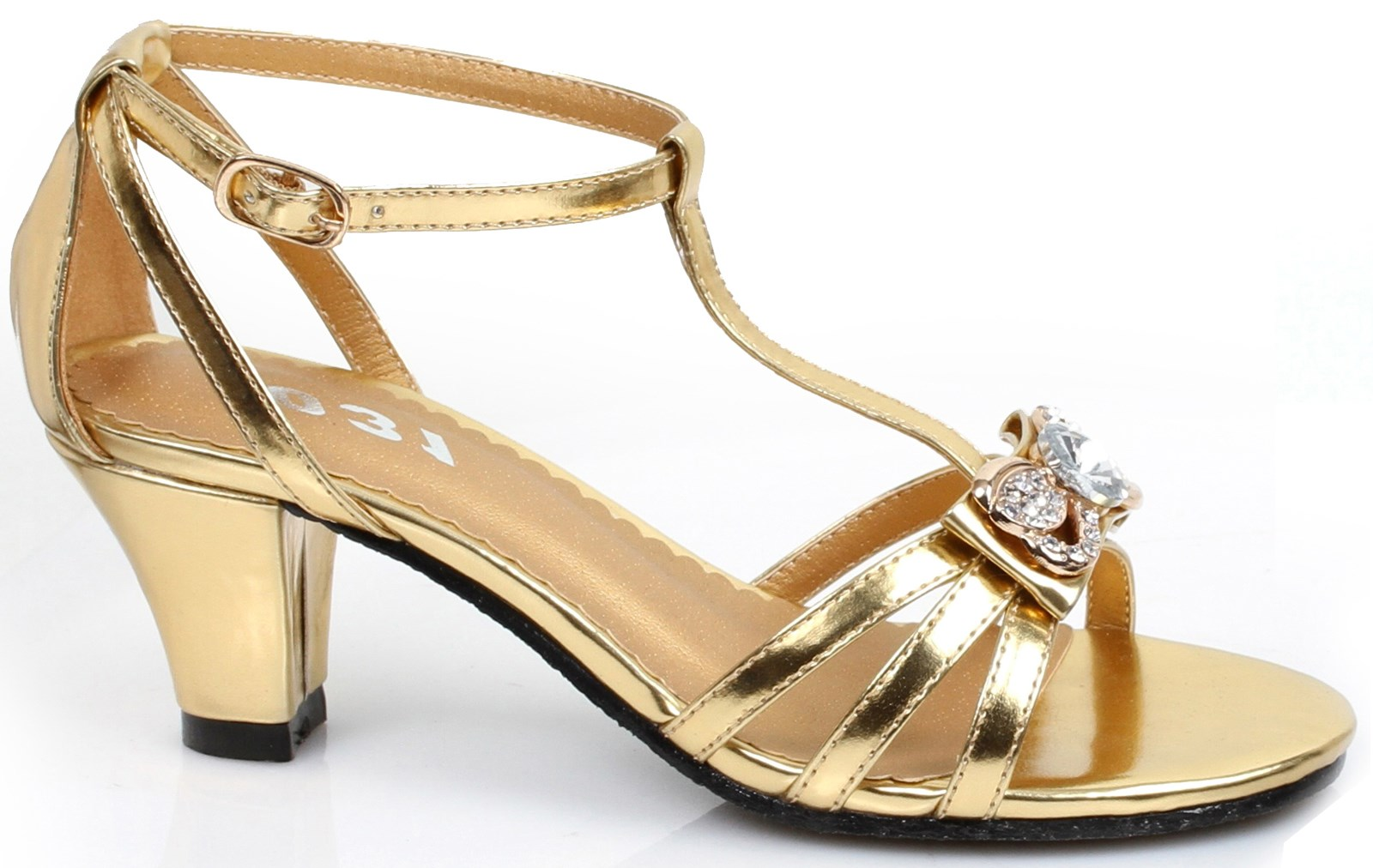 Gold Strappy Heel Shoes For Girls