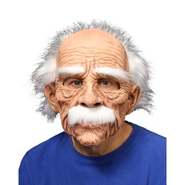 Grand Dad Full Mask w/ White Hair Eyebrows & Mustache