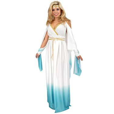 Greek Goddess White & Blue Adult Plus Costume