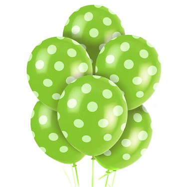 Green and White Dots Latex Balloons (6)