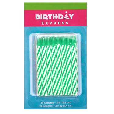 Green Stripe Birthday Candles (24)