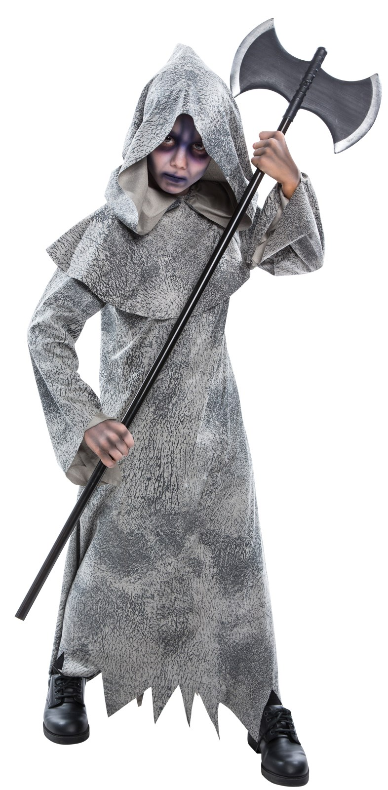 Grey Skeleton Reaper Robe for Kids