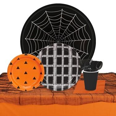 Halloween Black Orange & White 32 Guest Tableware Kit