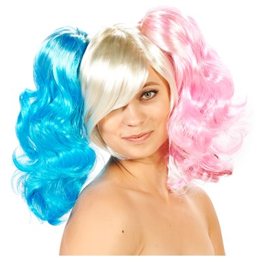 Harlequin 3-Piece Removable Pony Tails Adult Wig