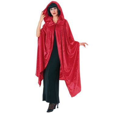 Hooded Crushed Red Velvet Adult Cape
