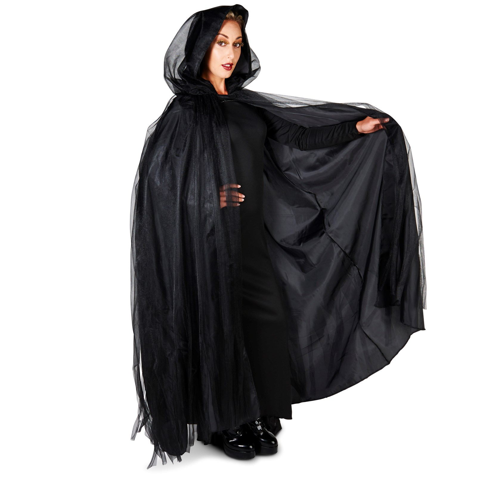 Hooded Lined Black Mesh Adult Cape Buycostumes Com