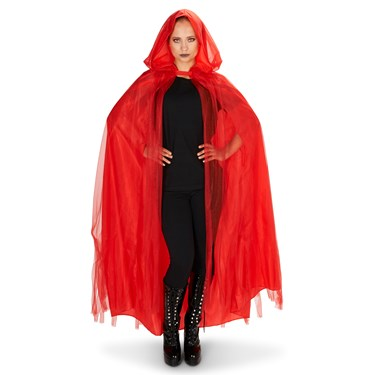 Hooded Lined Red Mesh Adult Cape