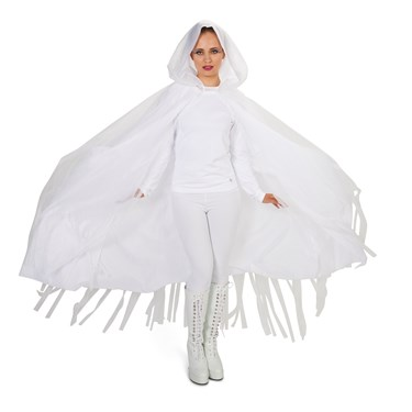 Hooded Lined White Mesh Adult Cape