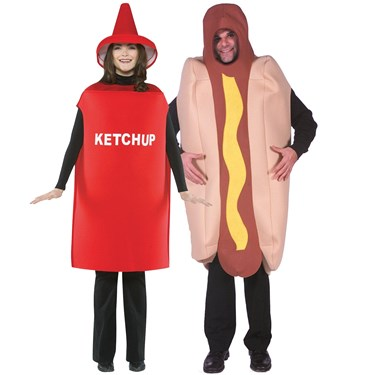 Hot Dog & Ketchup Adult Couples Costume