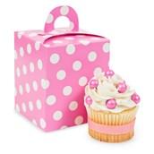 Hot Pink & White Polka Dot Cupcake Boxes (4 count)