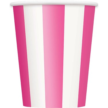 Hot Pink Stripe 12 oz. Paper Cups