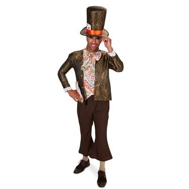 Jacquard Mad Hatter Jacket Pant Shirt Bowtie & Hat Man Adult Costume