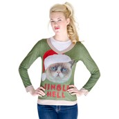 Jingle Hell Cat Ugly Christmas Sweater For Women